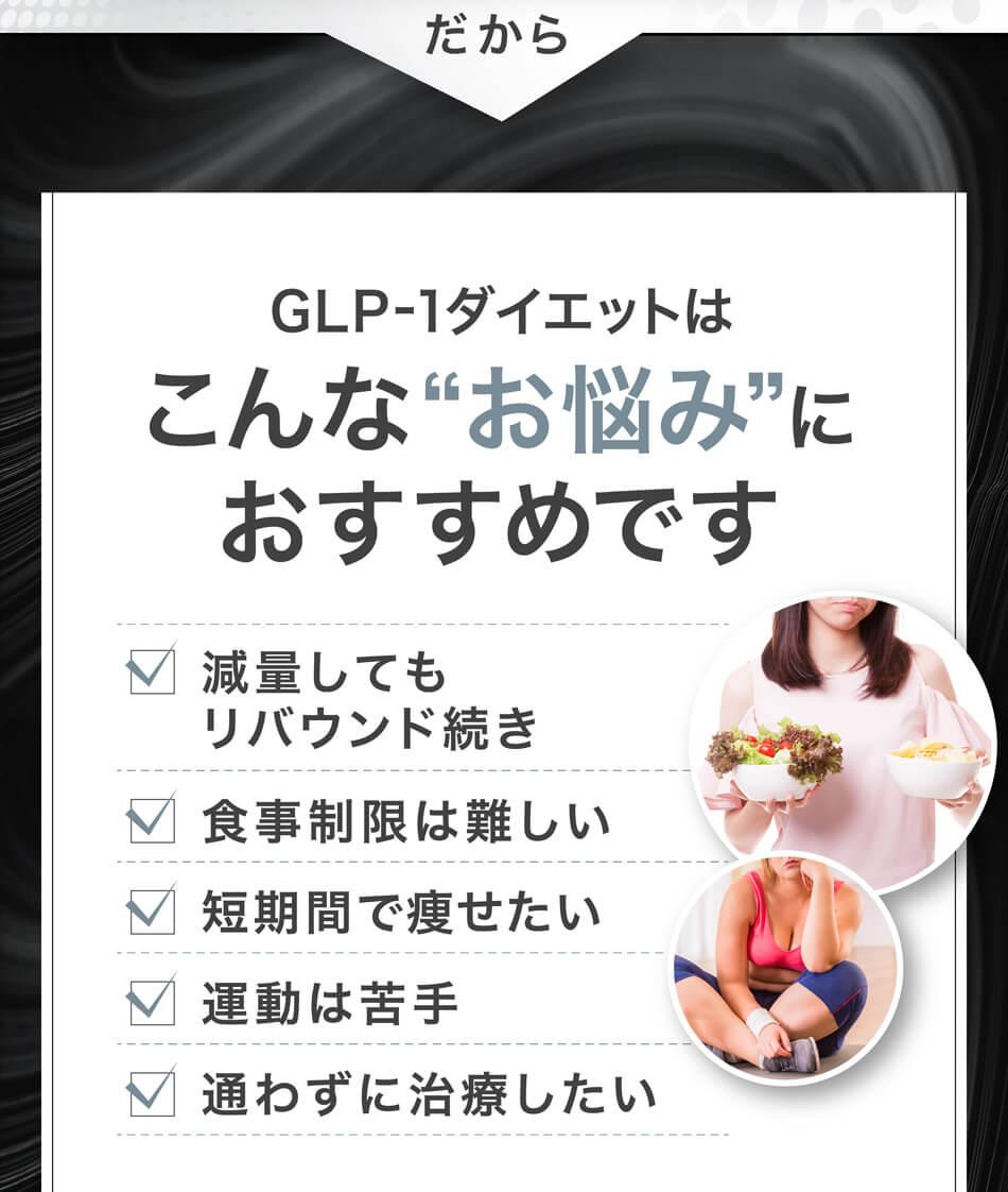 """だからGLP-1ダイエットはこんな""""お悩み""""におすすめです 減量してもリバウンド続き 食事制限は難しい 短期間で痩せたい 運動は苦手 通わずに治療したい"""